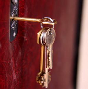 Bunch of keys in door lock