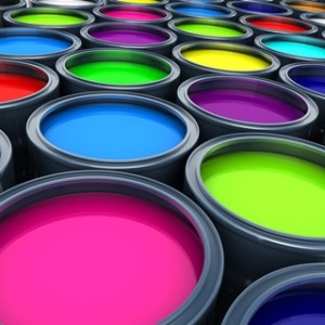 Many multicolored paint  (done in 3d)